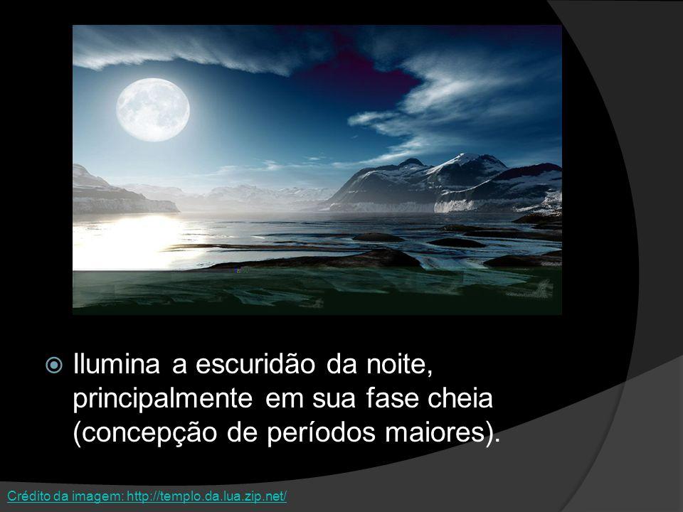 Ilumina a escuridão da noite, principalmente em sua fase cheia (concepção de períodos maiores). Crédito da imagem: http://templo.da.lua.zip.net/