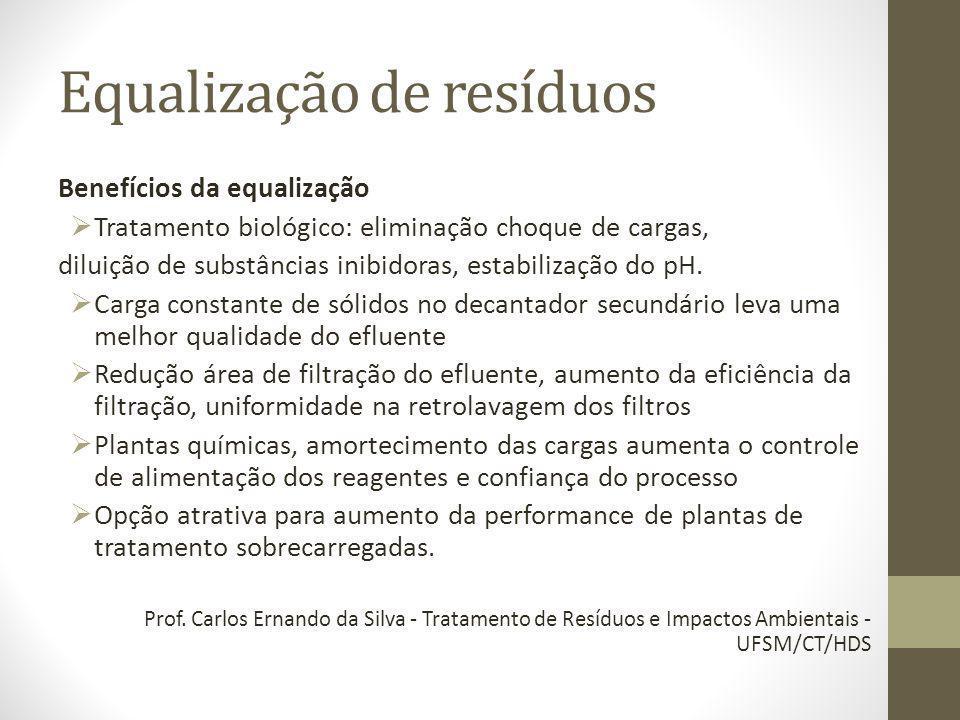 Benefícios da equalização Tratamento biológico: eliminação choque de cargas, diluição de substâncias inibidoras, estabilização do pH. Carga constante