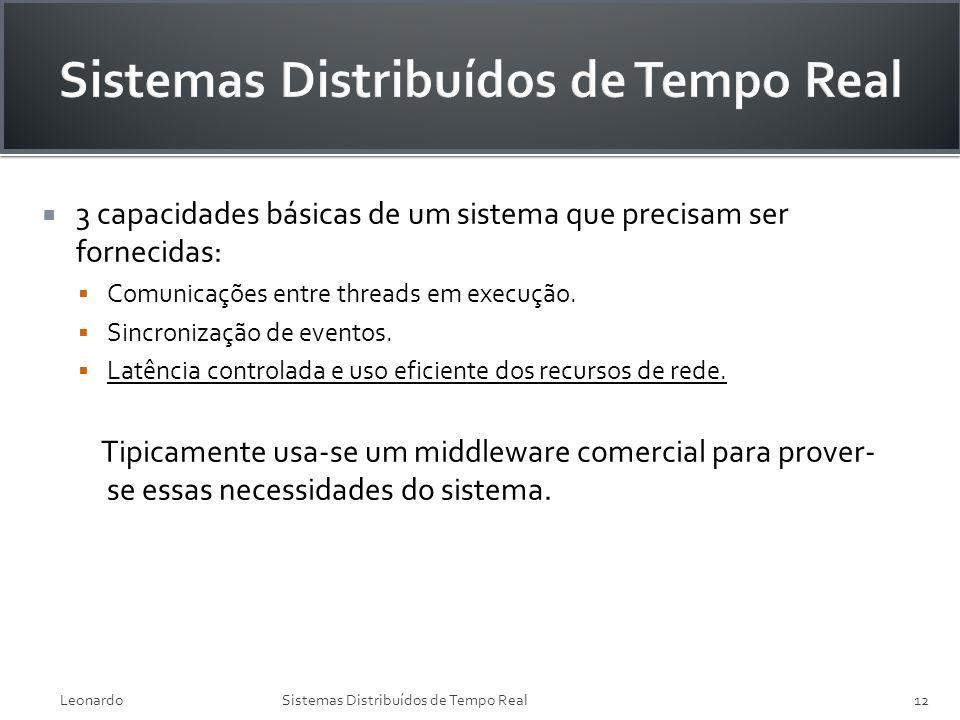 3 capacidades básicas de um sistema que precisam ser fornecidas: Comunicações entre threads em execução. Sincronização de eventos. Latência controlada