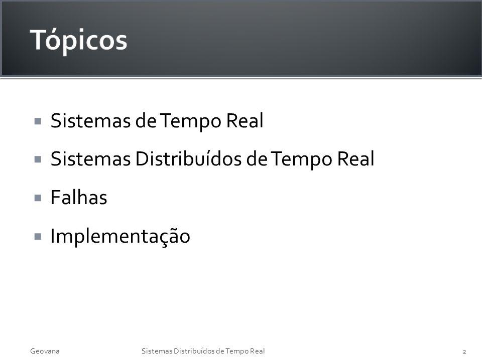 Sistemas de Tempo Real Sistemas Distribuídos de Tempo Real Falhas Implementação GeovanaSistemas Distribuídos de Tempo Real2