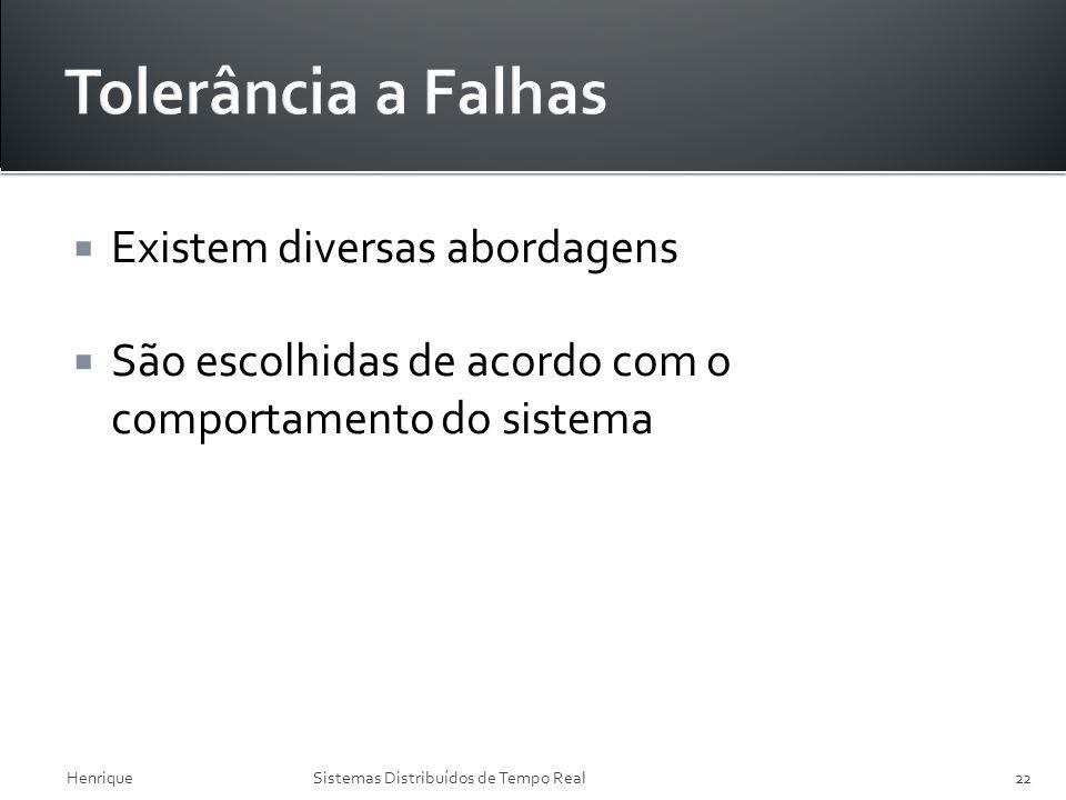 Existem diversas abordagens São escolhidas de acordo com o comportamento do sistema HenriqueSistemas Distribuídos de Tempo Real22