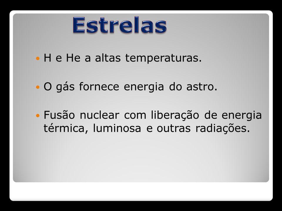 H e He a altas temperaturas. O gás fornece energia do astro. Fusão nuclear com liberação de energia térmica, luminosa e outras radiações.