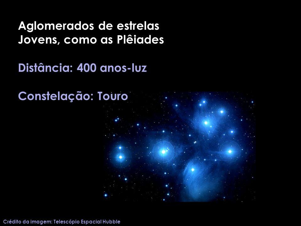 Aglomerados de estrelas Jovens, como as Plêiades Distância: 400 anos-luz Constelação: Touro Crédito da imagem: Telescópio Espacial Hubble