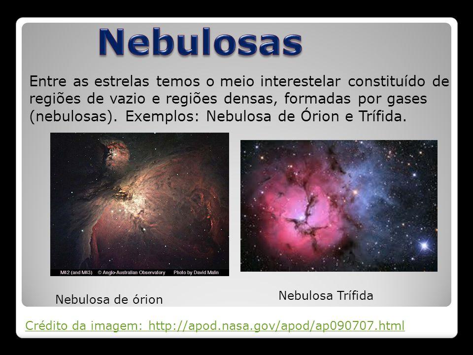 Entre as estrelas temos o meio interestelar constituído de regiões de vazio e regiões densas, formadas por gases (nebulosas). Exemplos: Nebulosa de Ór