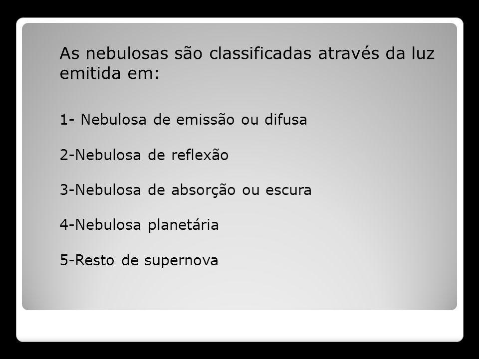 As nebulosas são classificadas através da luz emitida em: 1- Nebulosa de emissão ou difusa 2-Nebulosa de reflexão 3-Nebulosa de absorção ou escura 4-N