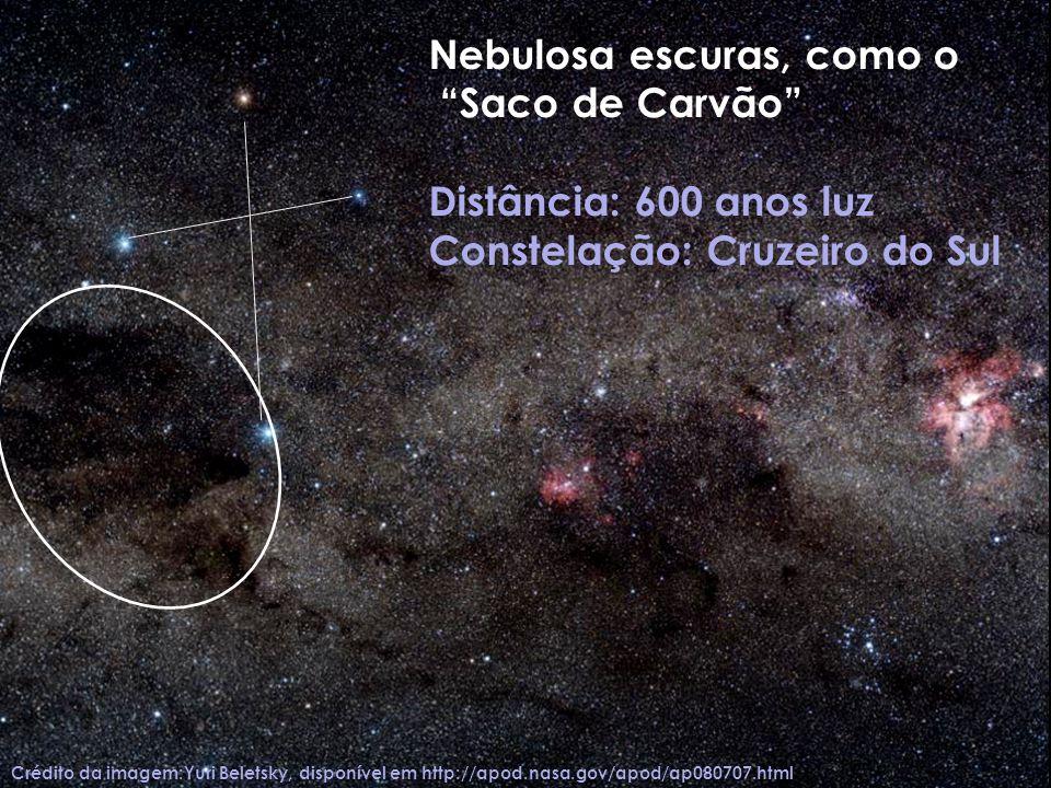 Crédito da imagem:Yuri Beletsky, disponível em http://apod.nasa.gov/apod/ap080707.html Nebulosa escuras, como o Saco de Carvão Distância: 600 anos luz