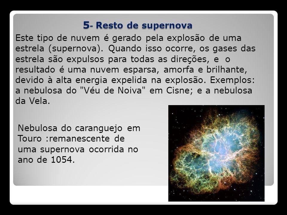5 - Resto de supernova Este tipo de nuvem é gerado pela explosão de uma estrela (supernova). Quando isso ocorre, os gases das estrela são expulsos par