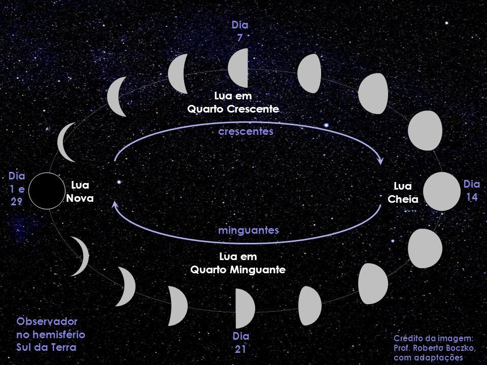 Dia 1 e 29 Lua Nova Dia 7 Lua em Quarto Crescente Dia 14 Lua Cheia Dia 21 Lua em Quarto Minguante Observador no hemisfério Sul da Terra Crédito da ima