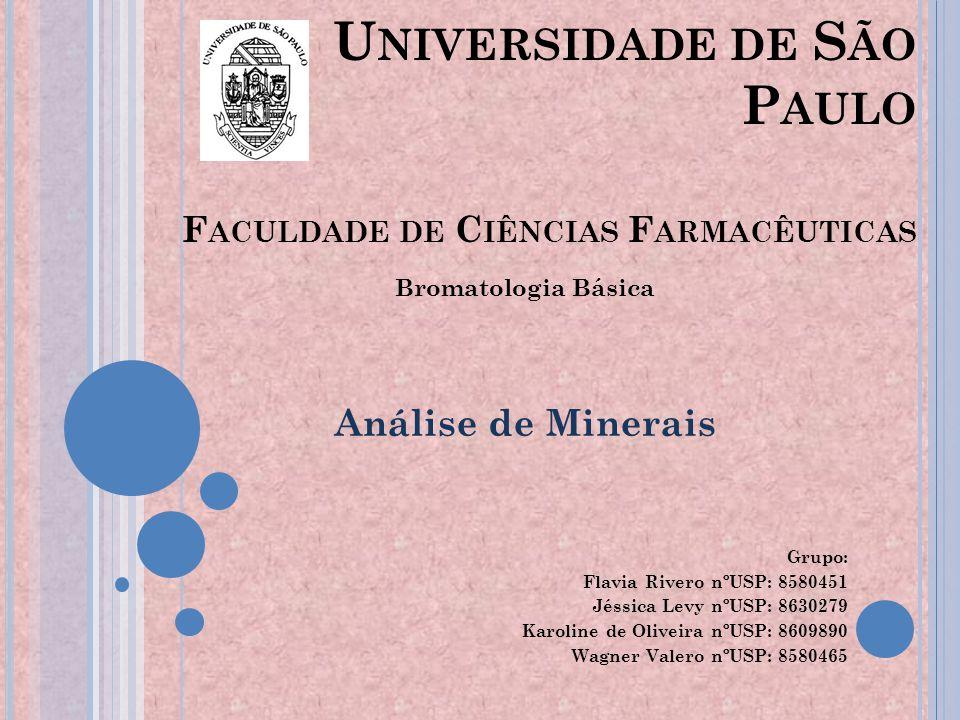 Agenda: - Minerais - Análise - Cuidados - Amostra Padrão - Interferências - Controle de Qualidade - Métodos - Considerações Finais - Conclusão