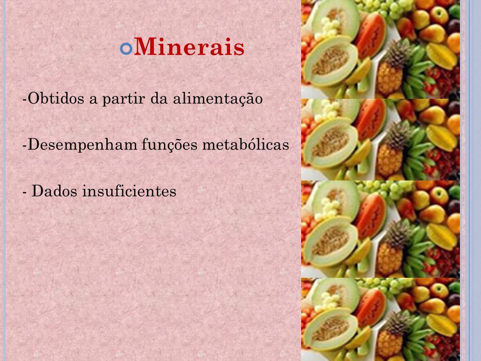 Minerais -Obtidos a partir da alimentação -Desempenham funções metabólicas - Dados insuficientes