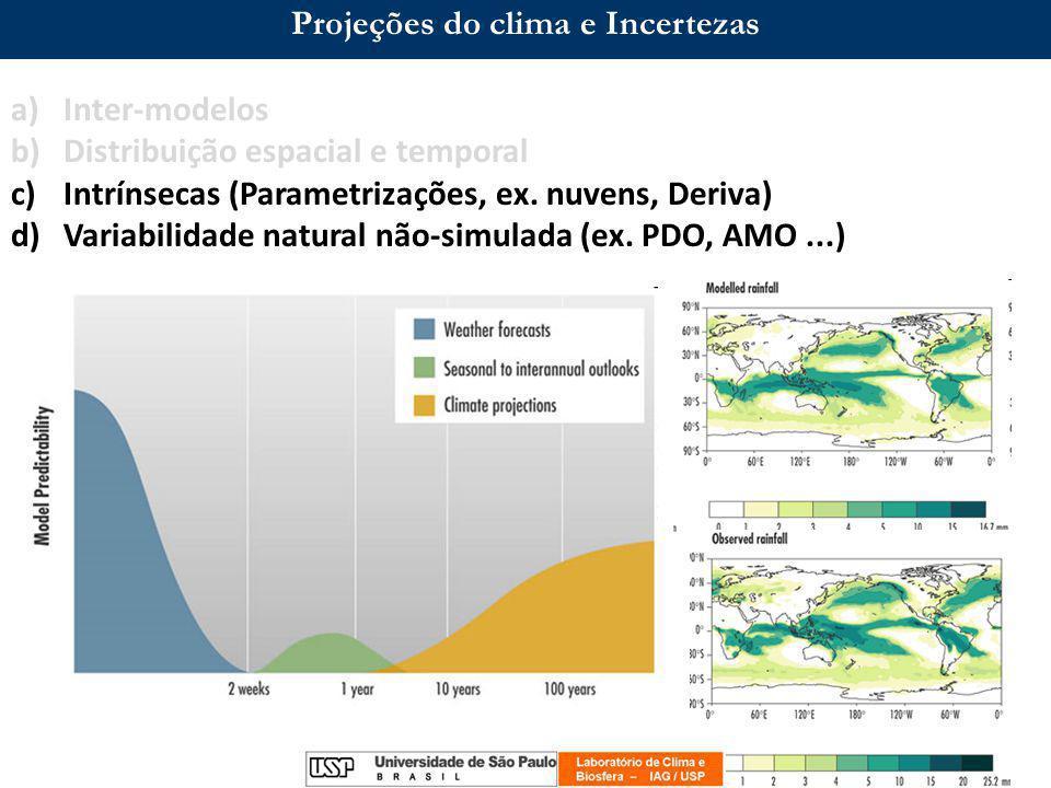 Projeções do clima e Incertezas a)Inter-modelos b)Distribuição espacial e temporal c)Intrínsecas (Parametrizações, ex.