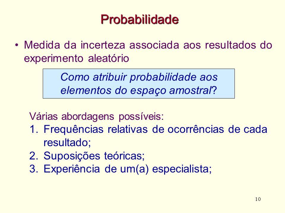 10 Probabilidade Medida da incerteza associada aos resultados do experimento aleatório Como atribuir probabilidade aos elementos do espaço amostral? V