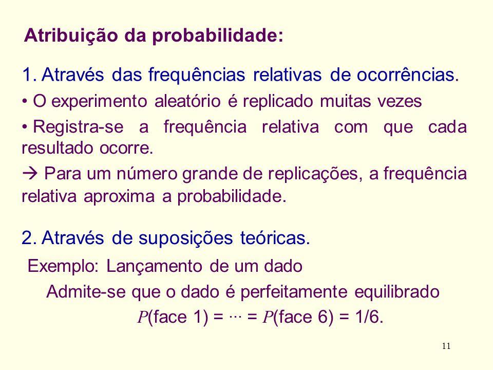 11 Exemplo: Lançamento de um dado Admite-se que o dado é perfeitamente equilibrado P (face 1) =... = P (face 6) = 1/6. Atribuição da probabilidade: 1.