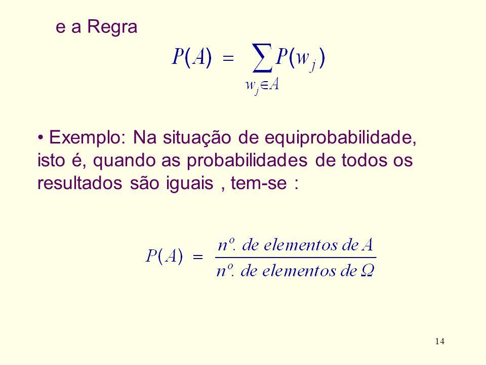 14 e a Regra Exemplo: Na situação de equiprobabilidade, isto é, quando as probabilidades de todos os resultados são iguais, tem-se :