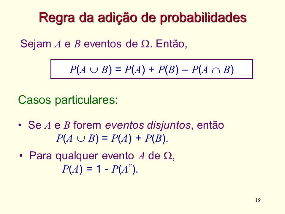 19 Sejam A e B eventos de. Então, Para qualquer evento A de, P ( A ) = 1 - P ( A c ). Regra da adição de probabilidades P ( A B ) = P ( A ) + P ( B )