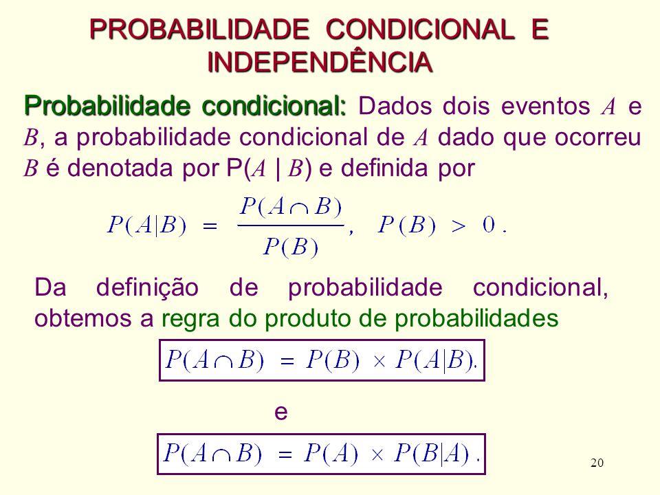 20 Probabilidade condicional: Probabilidade condicional: Dados dois eventos A e B, a probabilidade condicional de A dado que ocorreu B é denotada por