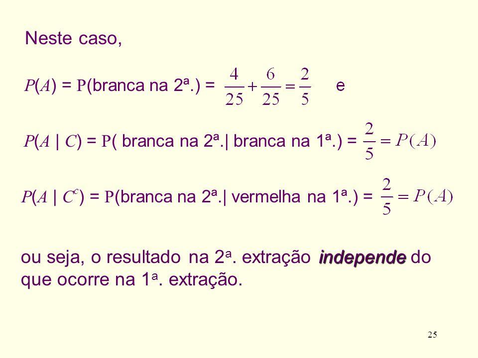 25 independe ou seja, o resultado na 2 a. extração independe do que ocorre na 1 a. extração. P ( A ) = P (branca na 2ª.) = Neste caso, P ( A | C ) = P