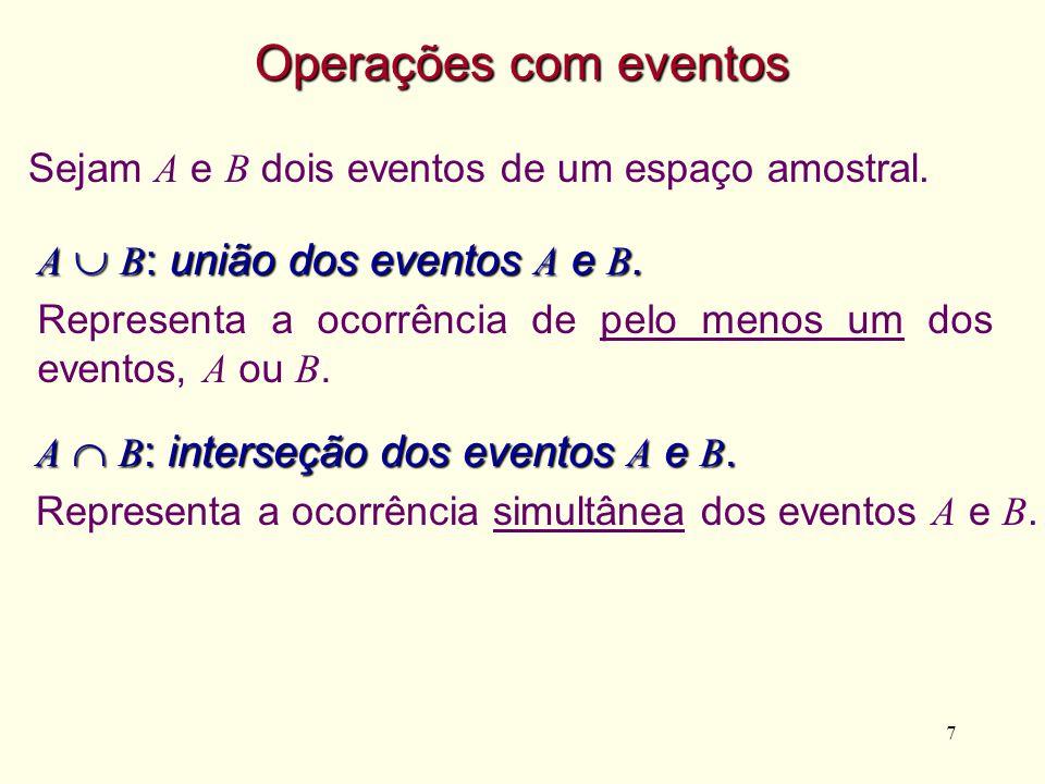 7 A B : interseção dos eventos A e B. Representa a ocorrência simultânea dos eventos A e B. Operações com eventos Sejam A e B dois eventos de um espaç