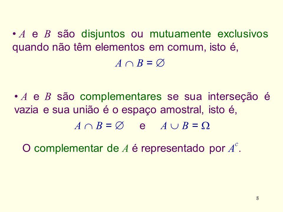 8 O complementar de A é representado por A c. A e B são disjuntos ou mutuamente exclusivos quando não têm elementos em comum, isto é, A B = A e B são