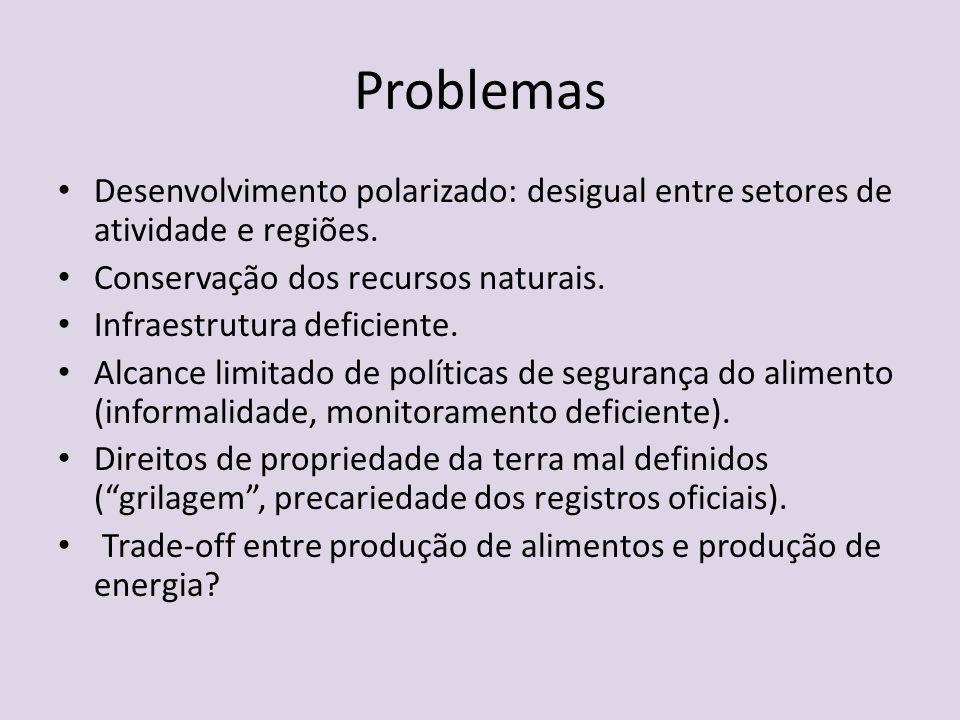 Problemas Desenvolvimento polarizado: desigual entre setores de atividade e regiões. Conservação dos recursos naturais. Infraestrutura deficiente. Alc