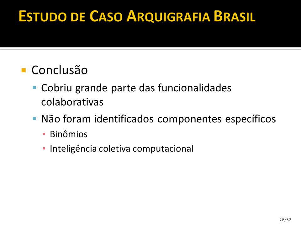 26/32 Conclusão Cobriu grande parte das funcionalidades colaborativas Não foram identificados componentes específicos Binômios Inteligência coletiva c