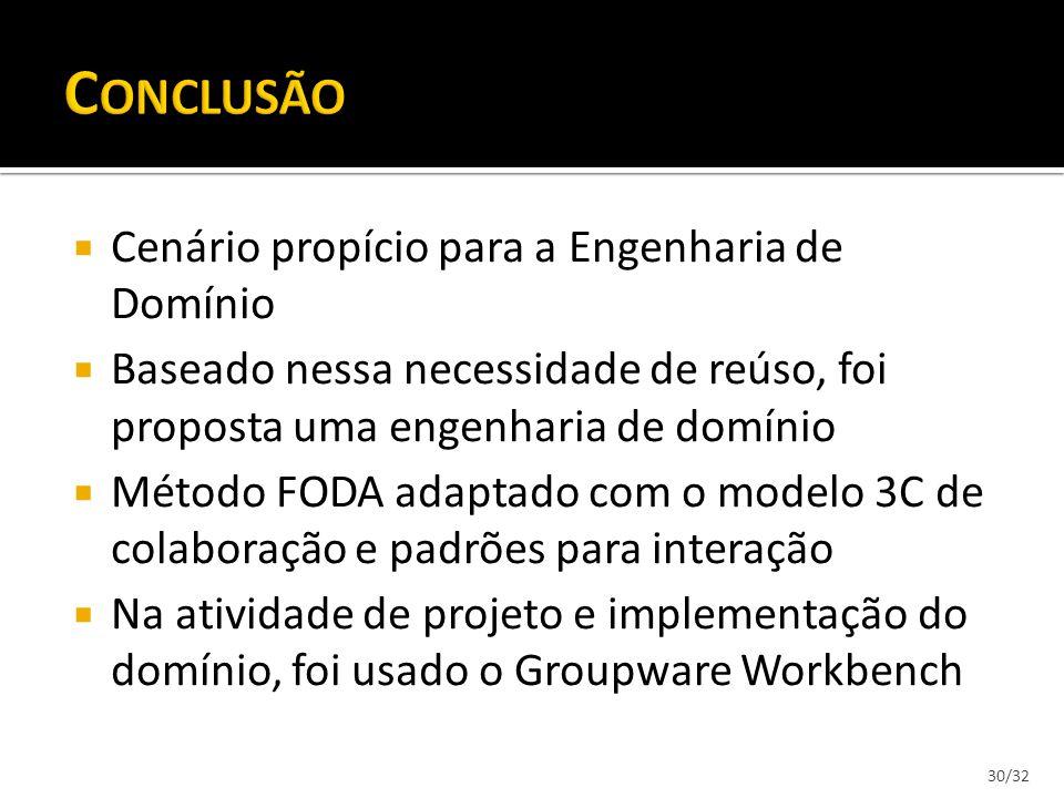 30/32 Cenário propício para a Engenharia de Domínio Baseado nessa necessidade de reúso, foi proposta uma engenharia de domínio Método FODA adaptado co