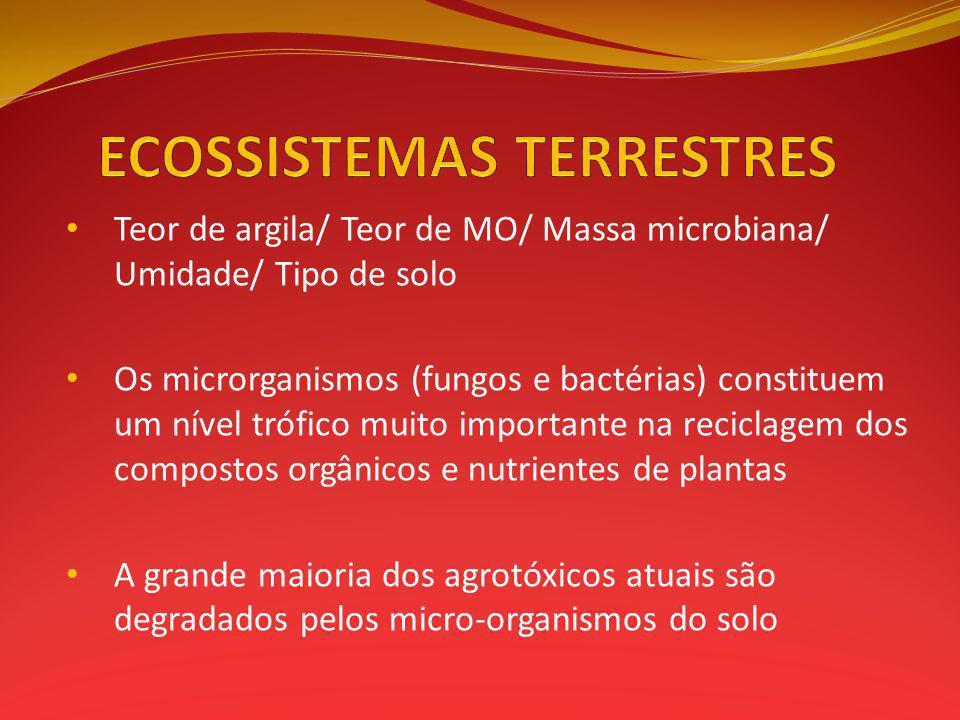 Teor de argila/ Teor de MO/ Massa microbiana/ Umidade/ Tipo de solo Os microrganismos (fungos e bactérias) constituem um nível trófico muito importante na reciclagem dos compostos orgânicos e nutrientes de plantas A grande maioria dos agrotóxicos atuais são degradados pelos micro-organismos do solo