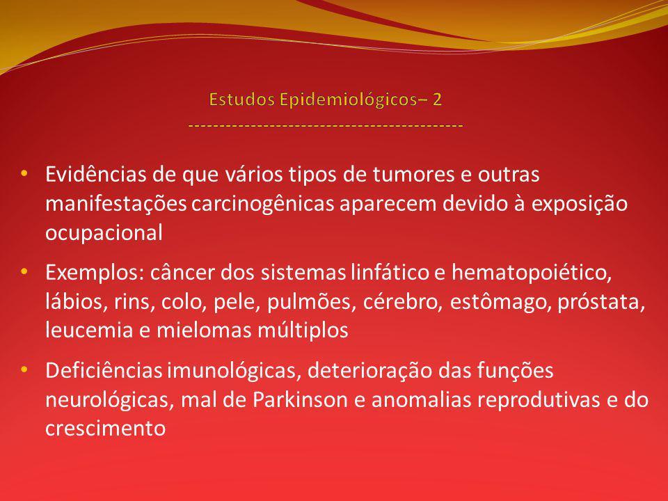 Evidências de que vários tipos de tumores e outras manifestações carcinogênicas aparecem devido à exposição ocupacional Exemplos: câncer dos sistemas linfático e hematopoiético, lábios, rins, colo, pele, pulmões, cérebro, estômago, próstata, leucemia e mielomas múltiplos Deficiências imunológicas, deterioração das funções neurológicas, mal de Parkinson e anomalias reprodutivas e do crescimento