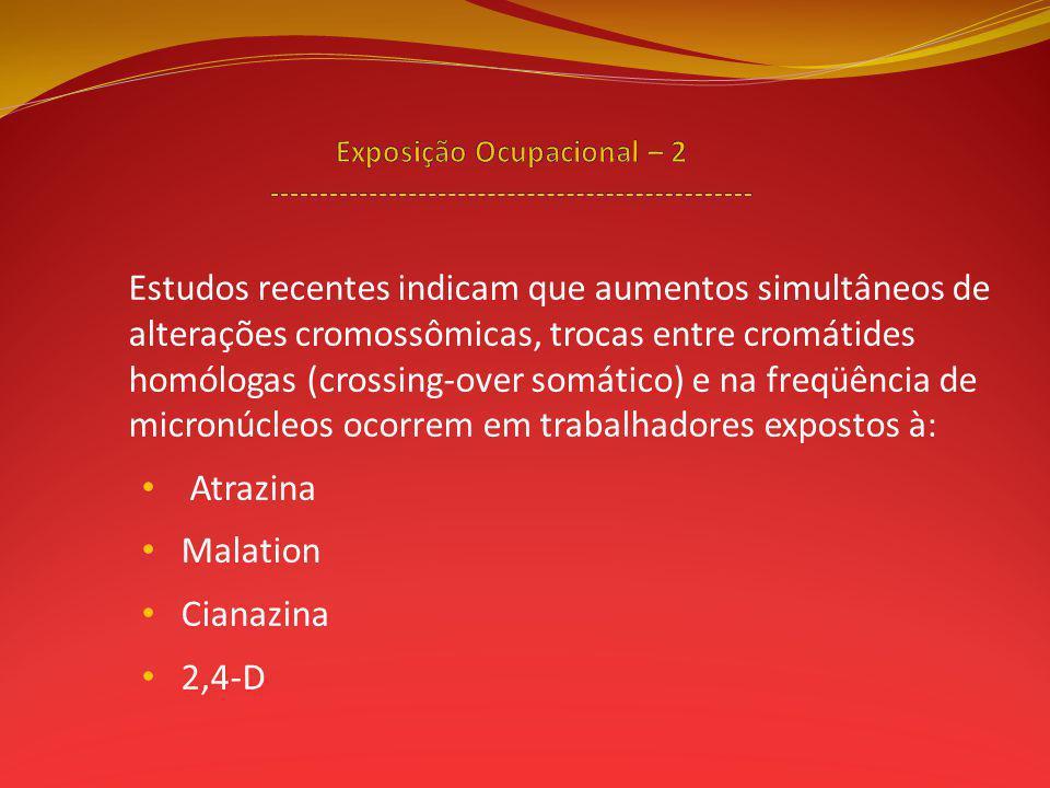 Estudos recentes indicam que aumentos simultâneos de alterações cromossômicas, trocas entre cromátides homólogas (crossing-over somático) e na freqüência de micronúcleos ocorrem em trabalhadores expostos à: Atrazina Malation Cianazina 2,4-D