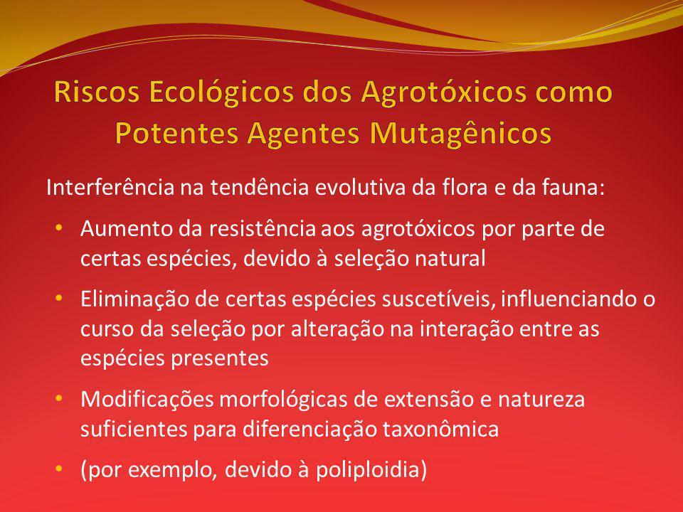 Interferência na tendência evolutiva da flora e da fauna: Aumento da resistência aos agrotóxicos por parte de certas espécies, devido à seleção natura