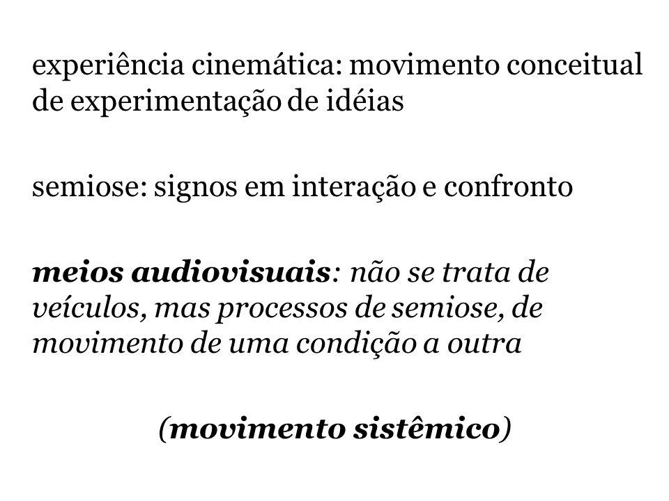 experiência cinemática: movimento conceitual de experimentação de idéias semiose: signos em interação e confronto meios audiovisuais: não se trata de veículos, mas processos de semiose, de movimento de uma condição a outra (movimento sistêmico)
