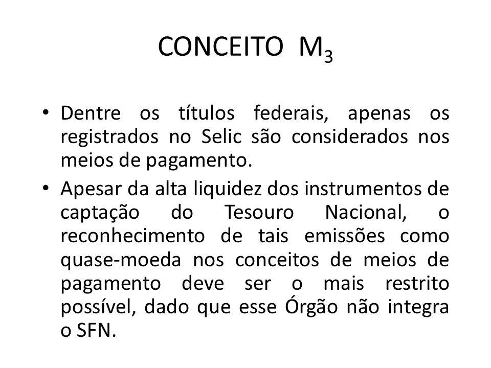 CONCEITO M 3 Dentre os títulos federais, apenas os registrados no Selic são considerados nos meios de pagamento.