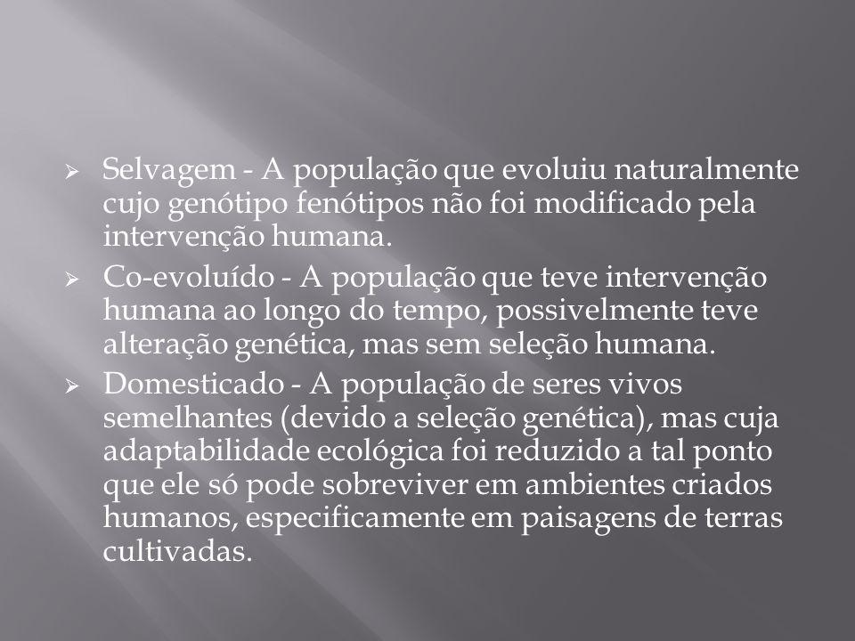 Selvagem - A população que evoluiu naturalmente cujo genótipo fenótipos não foi modificado pela intervenção humana. Co-evoluído - A população que teve