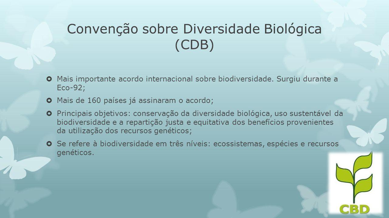 Convenção sobre Diversidade Biológica (CDB) Mais importante acordo internacional sobre biodiversidade. Surgiu durante a Eco-92; Mais de 160 países já
