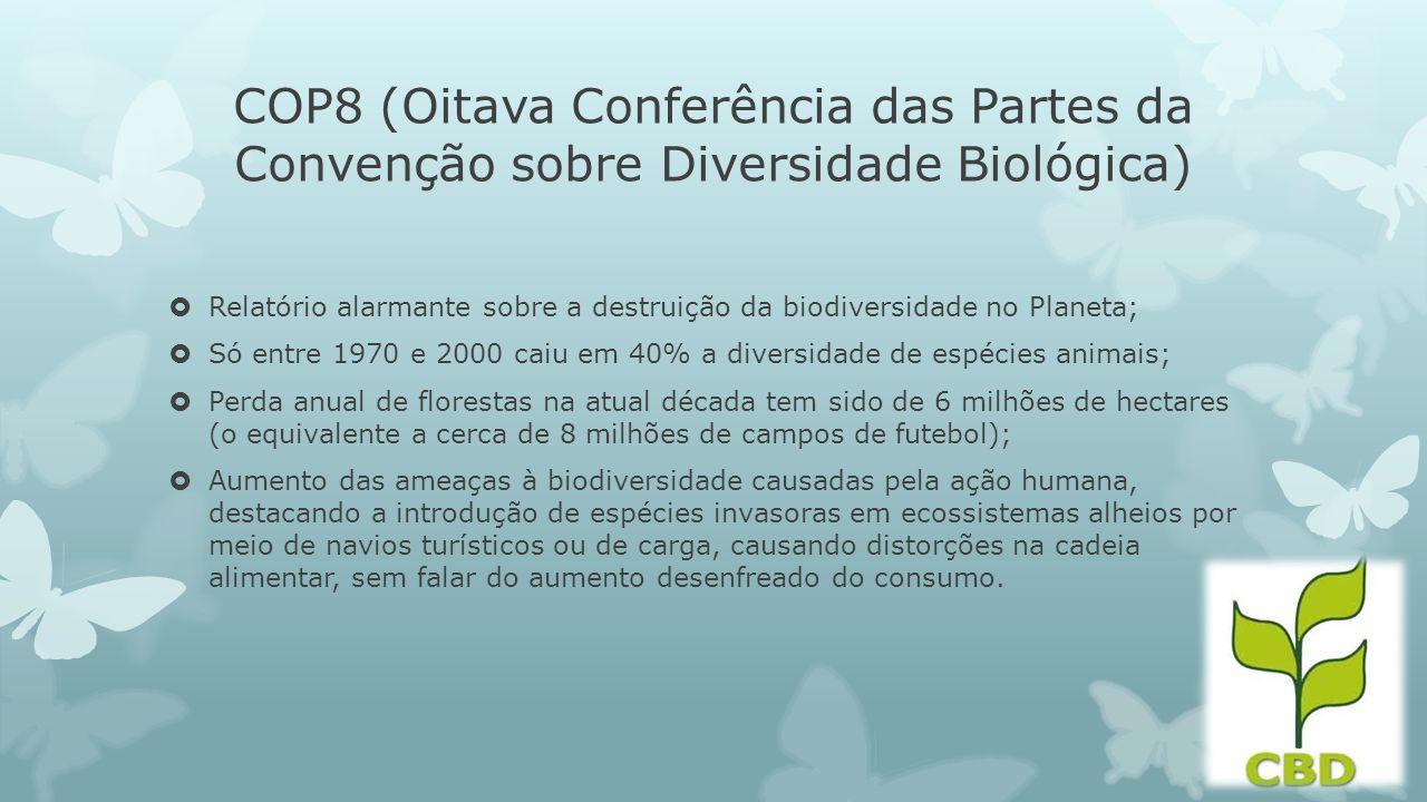 COP8 (Oitava Conferência das Partes da Convenção sobre Diversidade Biológica) Relatório alarmante sobre a destruição da biodiversidade no Planeta; Só