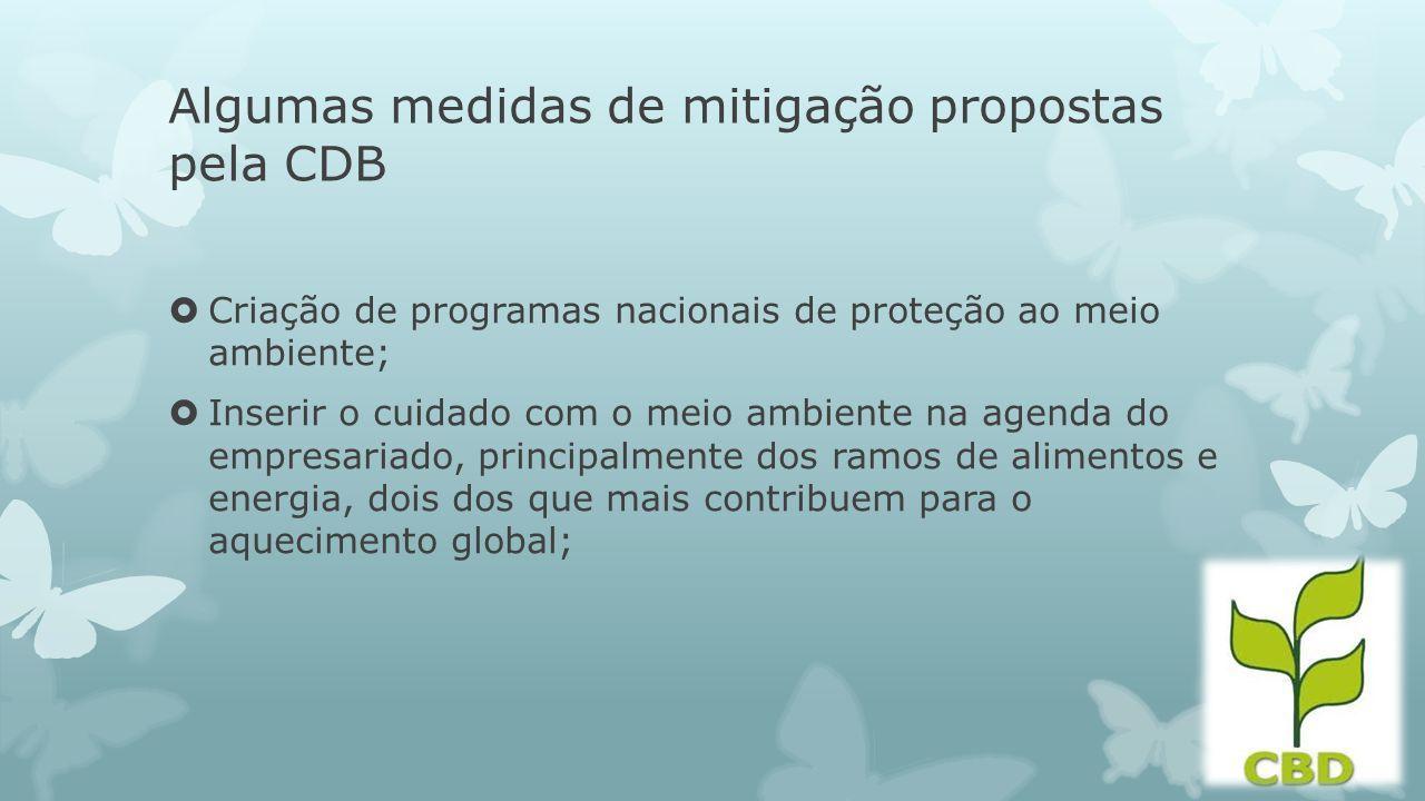Algumas medidas de mitigação propostas pela CDB Criação de programas nacionais de proteção ao meio ambiente; Inserir o cuidado com o meio ambiente na