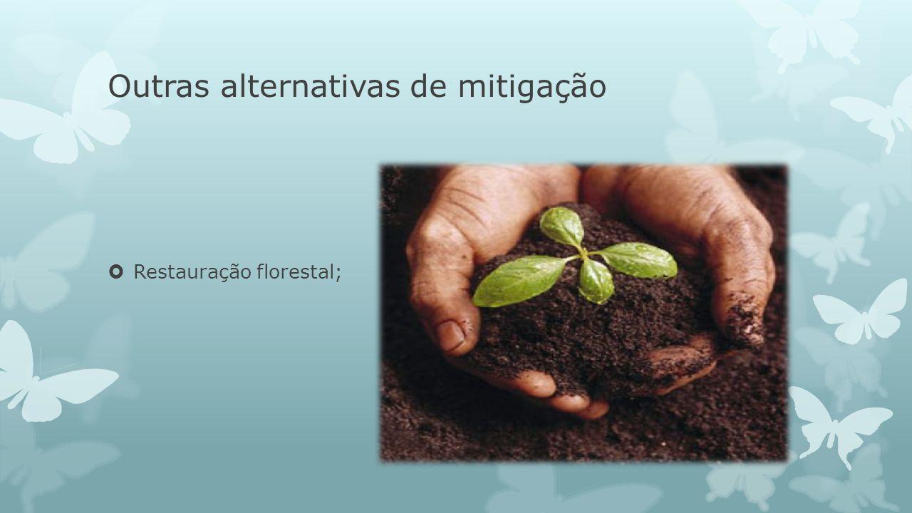 Outras alternativas de mitigação Restauração florestal;