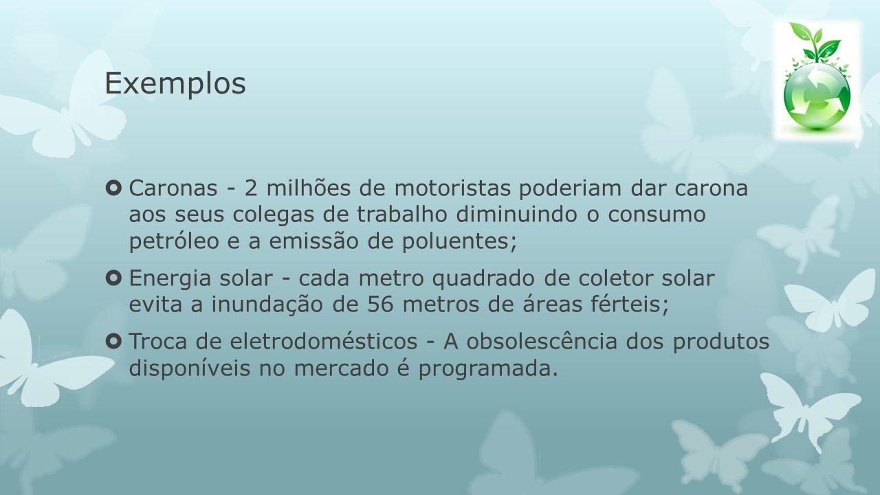 Exemplos Caronas - 2 milhões de motoristas poderiam dar carona aos seus colegas de trabalho diminuindo o consumo petróleo e a emissão de poluentes; En