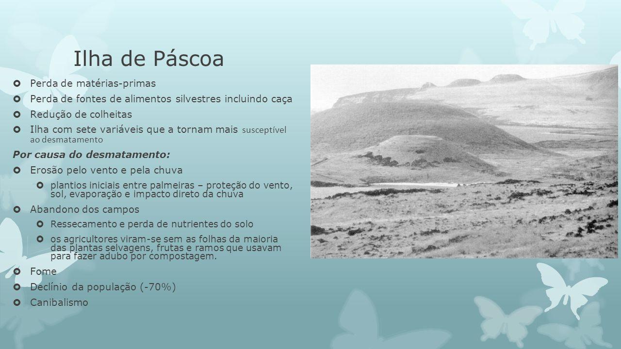 Ilha de Páscoa Perda de matérias-primas Perda de fontes de alimentos silvestres incluindo caça Redução de colheitas Ilha com sete variáveis que a torn
