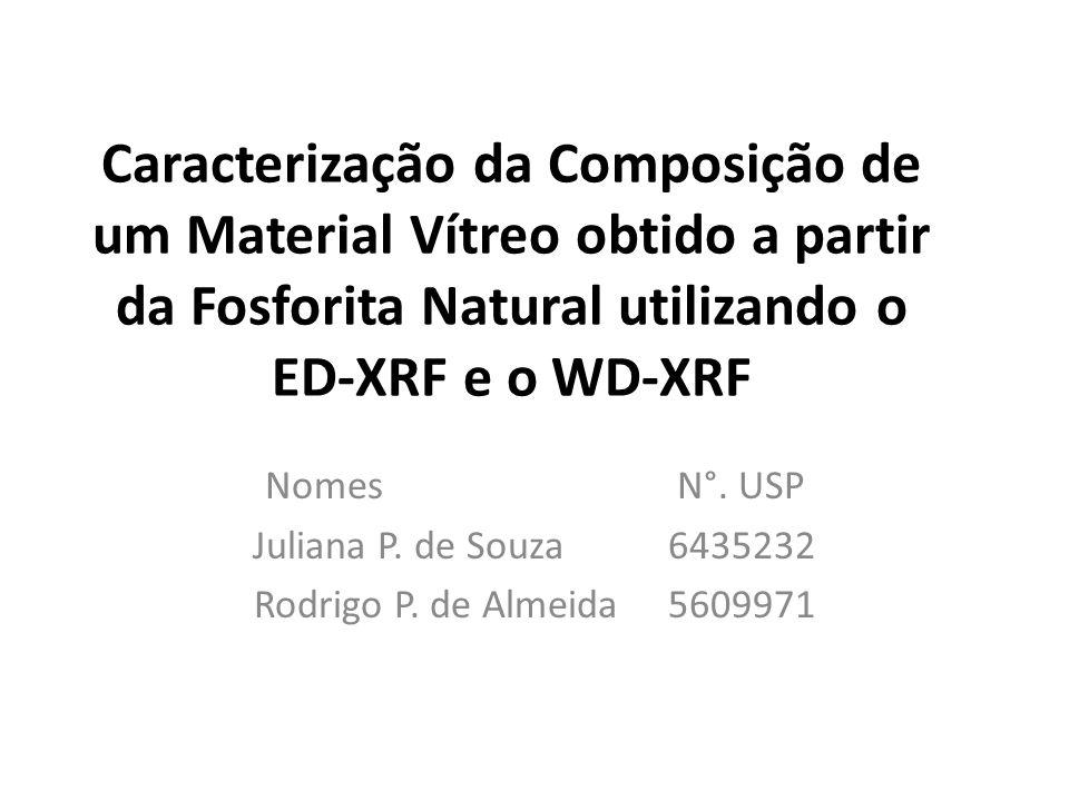 Caracterização da Composição de um Material Vítreo obtido a partir da Fosforita Natural utilizando o ED-XRF e o WD-XRF Nomes N°. USP Juliana P. de Sou