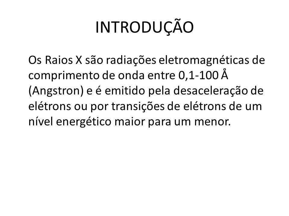 INTRODUÇÃO Os Raios X são radiações eletromagnéticas de comprimento de onda entre 0,1-100 Å (Angstron) e é emitido pela desaceleração de elétrons ou p