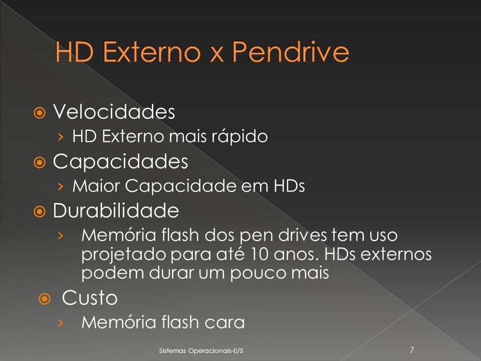 Velocidades HD Externo mais rápido Capacidades Maior Capacidade em HDs Durabilidade Memória flash dos pen drives tem uso projetado para até 10 anos.
