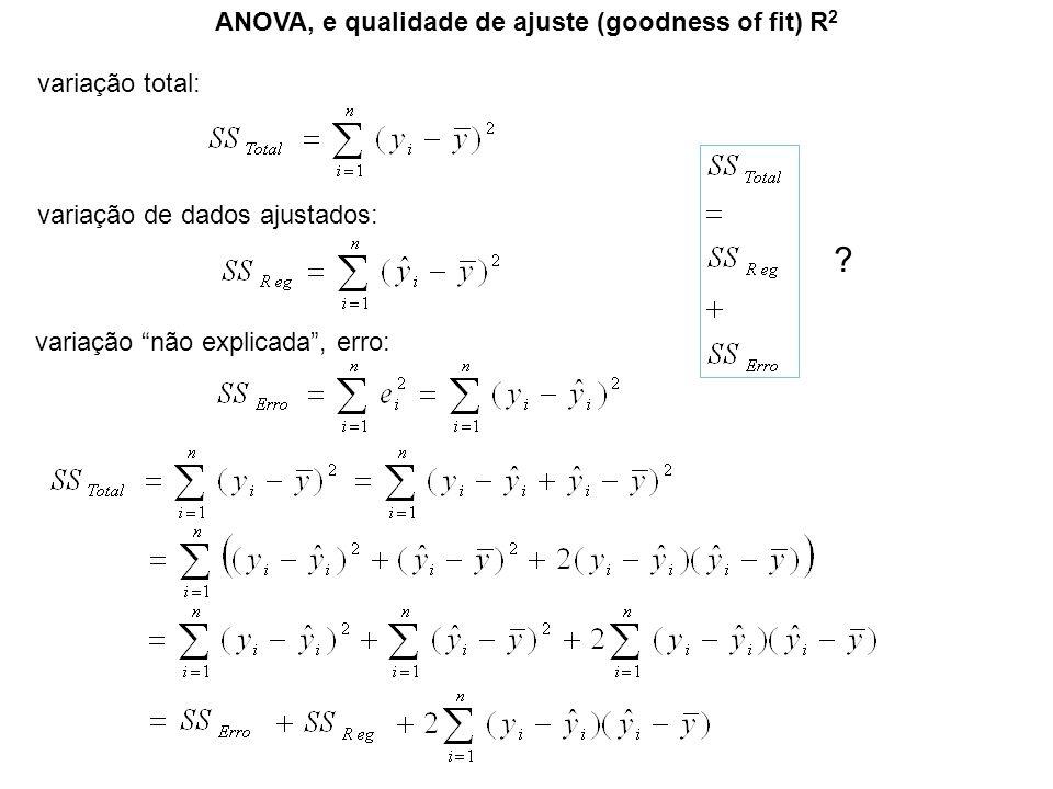 ANOVA, e qualidade de ajuste (goodness of fit) R 2 variação total: variação de dados ajustados: variação não explicada, erro: ?