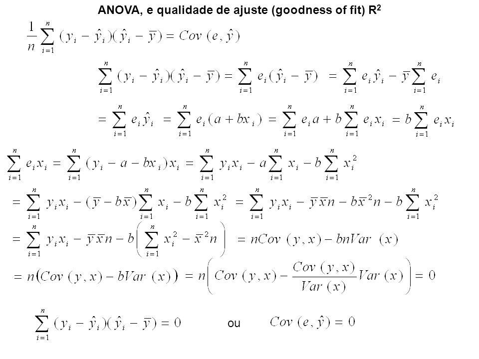 ANOVA, e qualidade de ajuste (goodness of fit) R 2 ou