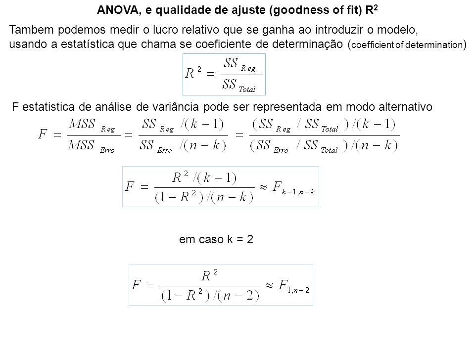 ANOVA, e qualidade de ajuste (goodness of fit) R 2 Tambem podemos medir o lucro relativo que se ganha ao introduzir o modelo, usando a estatística que