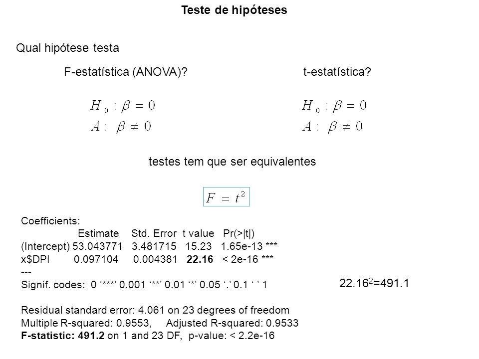 Teste de hipóteses Qual hipótese testa F-estatística (ANOVA)?t-estatística? testes tem que ser equivalentes Coefficients: Estimate Std. Error t value