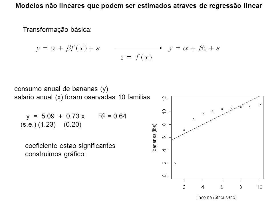 Modelos não lineares que podem ser estimados atraves de regressão linear Transformação básica: consumo anual de bananas (y) salario anual (x) foram os