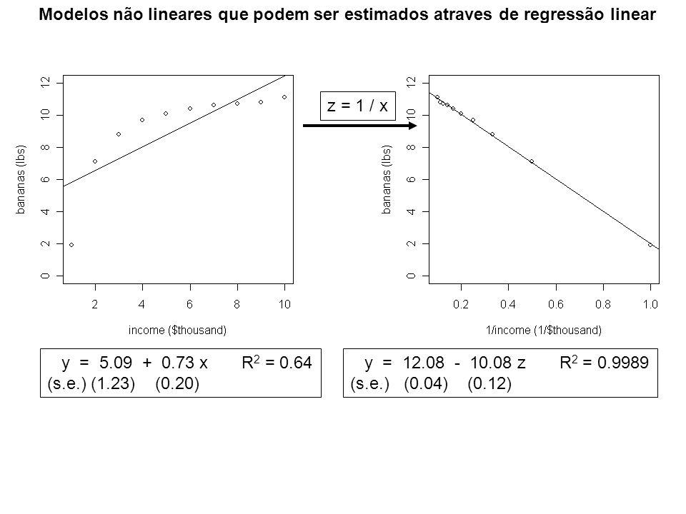 Modelos não lineares que podem ser estimados atraves de regressão linear z = 1 / x y = 5.09 + 0.73 x R 2 = 0.64 (s.e.) (1.23) (0.20) y = 12.08 - 10.08