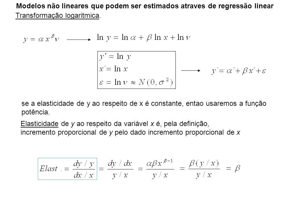 Modelos não lineares que podem ser estimados atraves de regressão linear Transformação logaritmica. se a elasticidade de y ao respeito de x é constant