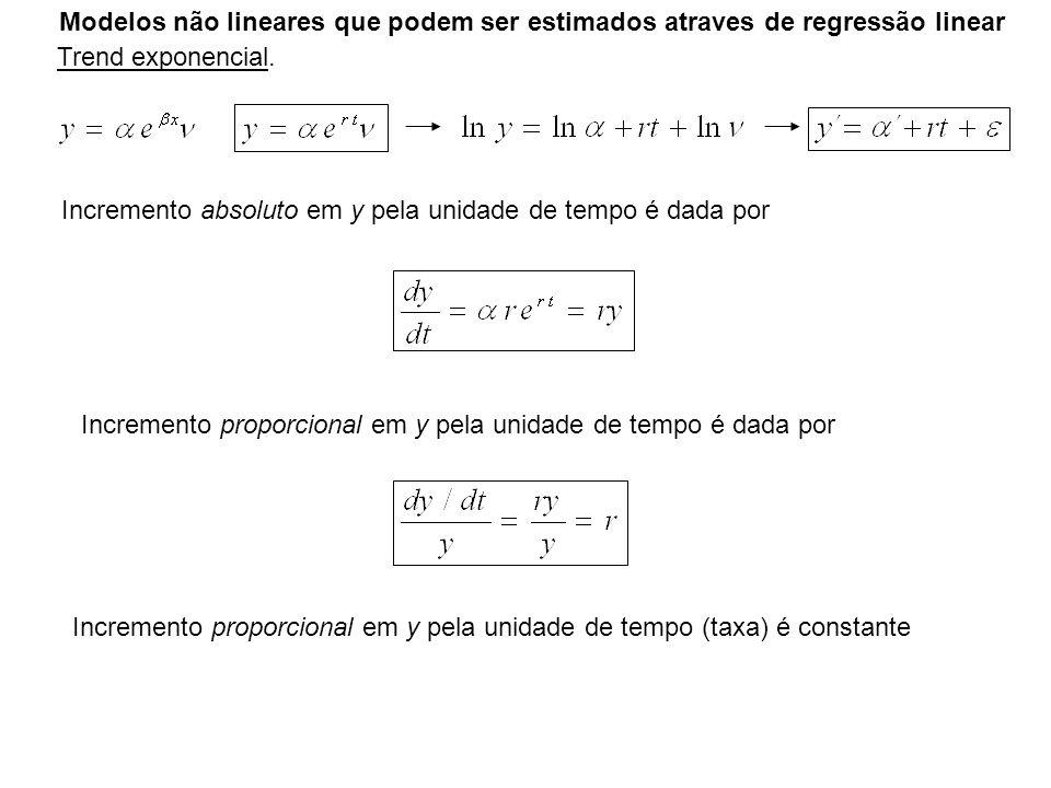 Modelos não lineares que podem ser estimados atraves de regressão linear Trend exponencial. Incremento absoluto em y pela unidade de tempo é dada por